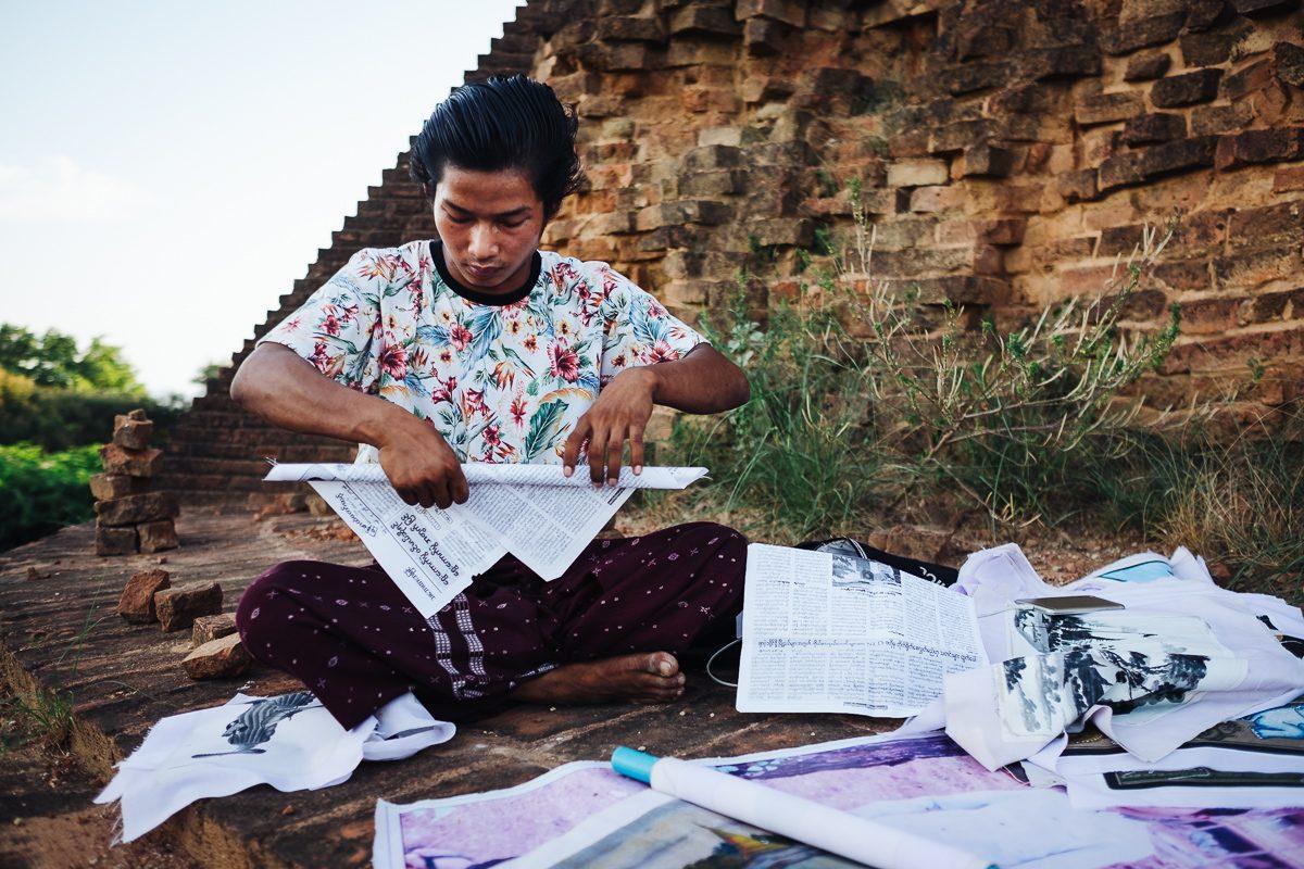 Slikar v Baganu, Mjanmar